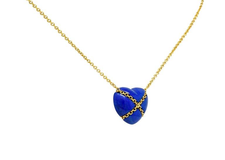 Contemporary Tiffany & Co. Lapis Lazuli 18 Karat Gold Cross My Heart Necklace For Sale