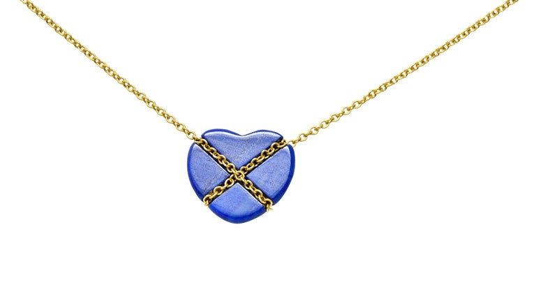 Cabochon Tiffany & Co. Lapis Lazuli 18 Karat Gold Cross My Heart Necklace For Sale