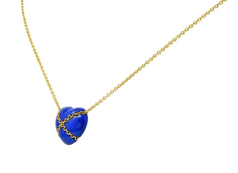 Tiffany & Co. Lapis Lazuli 18 Karat Gold Cross My Heart Necklace In Excellent Condition For Sale In Philadelphia, PA