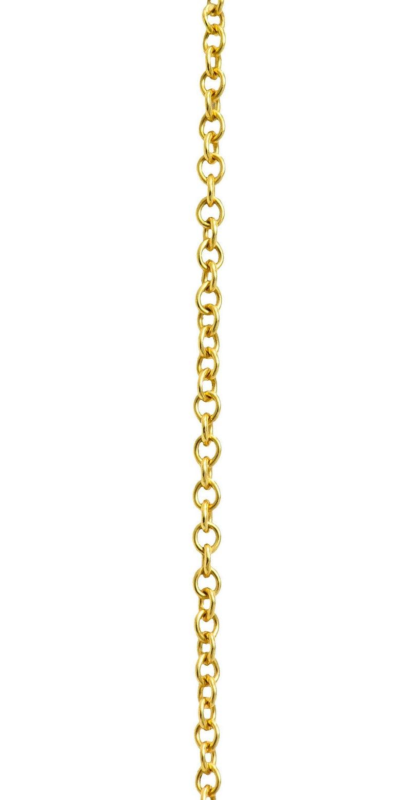 Women's or Men's Tiffany & Co. Lapis Lazuli 18 Karat Gold Cross My Heart Necklace For Sale