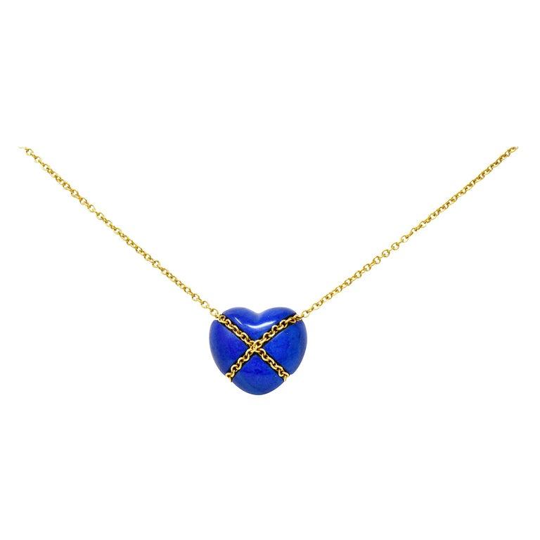 Tiffany & Co. Lapis Lazuli 18 Karat Gold Cross My Heart Necklace For Sale