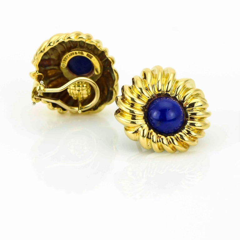 Retro Tiffany & Co. Lapis Lazuli 18 Karat Yellow Gold Earrings For Sale