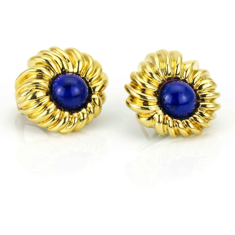 Tiffany & Co. Lapis Lazuli 18 Karat Yellow Gold Earrings In Excellent Condition For Sale In Fort Lauderdale, FL