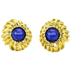 Tiffany & Co. Lapis Lazuli 18 Karat Yellow Gold Earrings