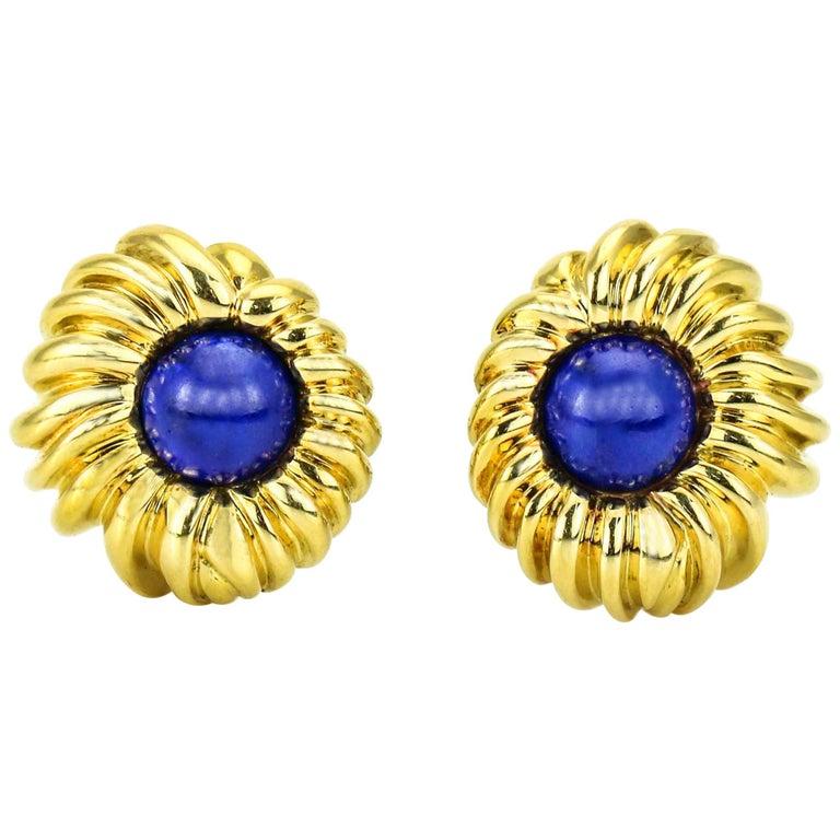 Tiffany & Co. Lapis Lazuli 18 Karat Yellow Gold Earrings For Sale