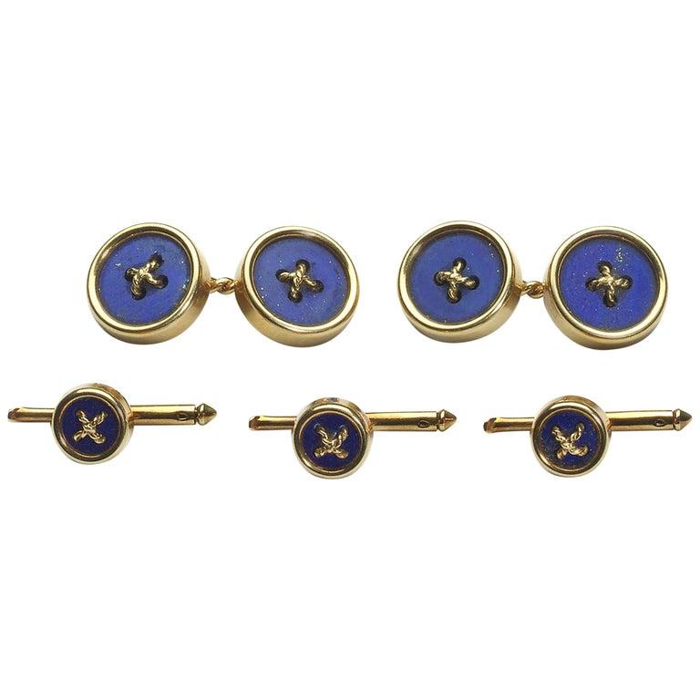 Tiffany & Co. Lapis Lazuli and Gold Dress-Set, circa 1970 For Sale