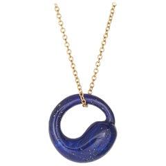 Tiffany & Co. Lapis Lazuli Eternal Circle Necklace Estate 18 Karat Gold Peretti