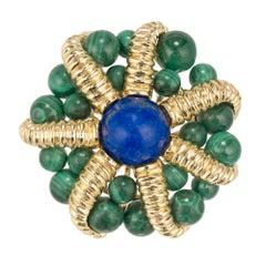Tiffany & Co. Lapis Lazuli Malachite Yellow Gold Brooch