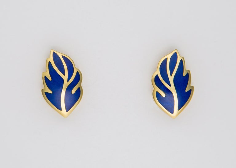 Contemporary Tiffany & Co. Lapis Leaf Motif Earrings For Sale