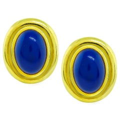Tiffany & Co. Lapis Yellow Gold Earrings