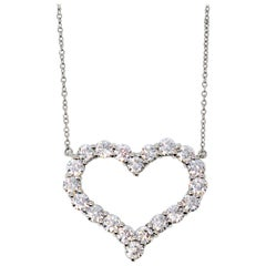 Tiffany & Co. Large Diamond Open Heart Pendant in Platinum on a Necklace