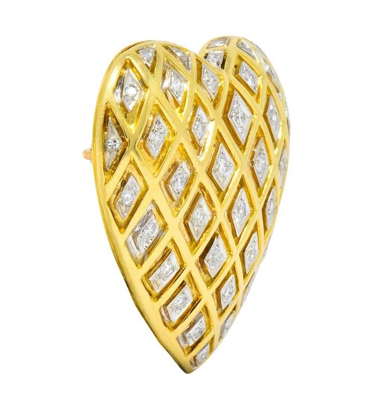 Modernist Tiffany & Co. Large Diamond Platinum 18 Karat Gold Heart Pendant Brooch For Sale