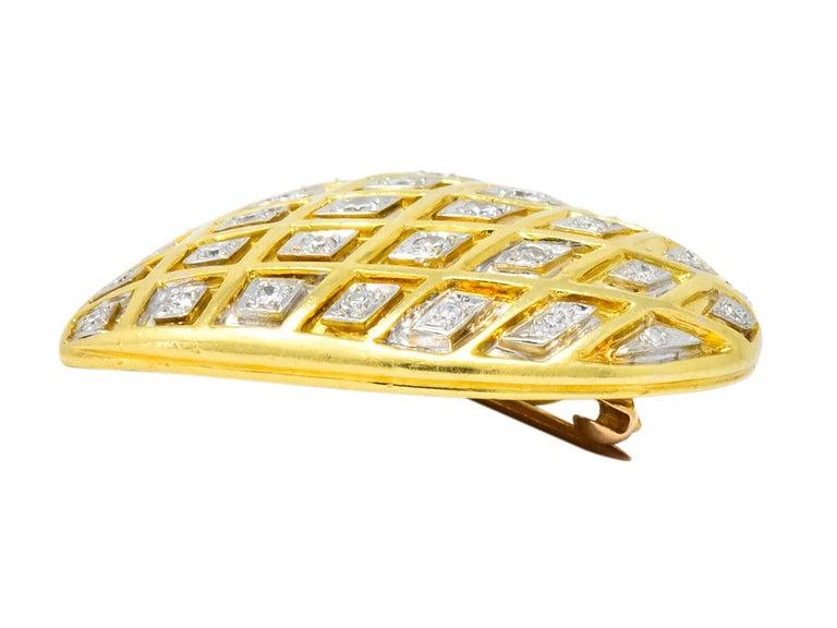 Round Cut Tiffany & Co. Large Diamond Platinum 18 Karat Gold Heart Pendant Brooch For Sale