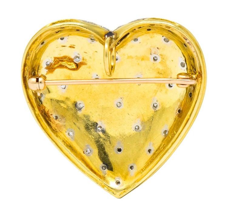 Women's or Men's Tiffany & Co. Large Diamond Platinum 18 Karat Gold Heart Pendant Brooch For Sale
