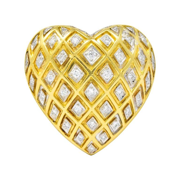 Tiffany & Co. Large Diamond Platinum 18 Karat Gold Heart Pendant Brooch For Sale