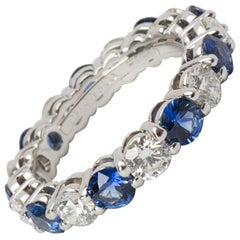 Tiffany & Co. Large Embrace Diamond and Sapphire Band in Platinum '3.24 Carat'