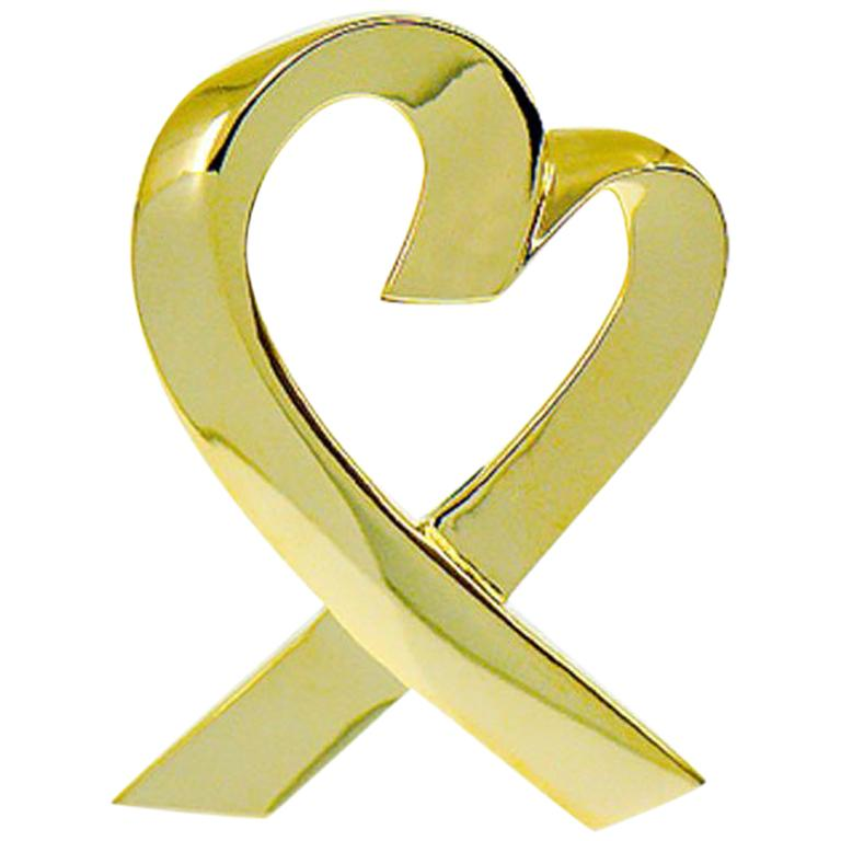 Tiffany & Co. Large Paloma Picasso 18 Karat Yellow Gold Heart Pin Brooch For Sale