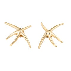 Tiffany & Co Large Starfish Earrings Vintage 18 Karat Gold Estate Fine Jewelry