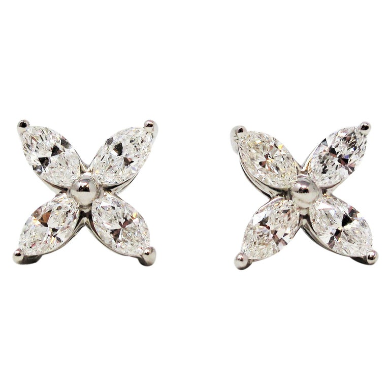 Tiffany & Co. Large Victoria Diamond Earrings in Platinum 1.61 Carat Total For Sale