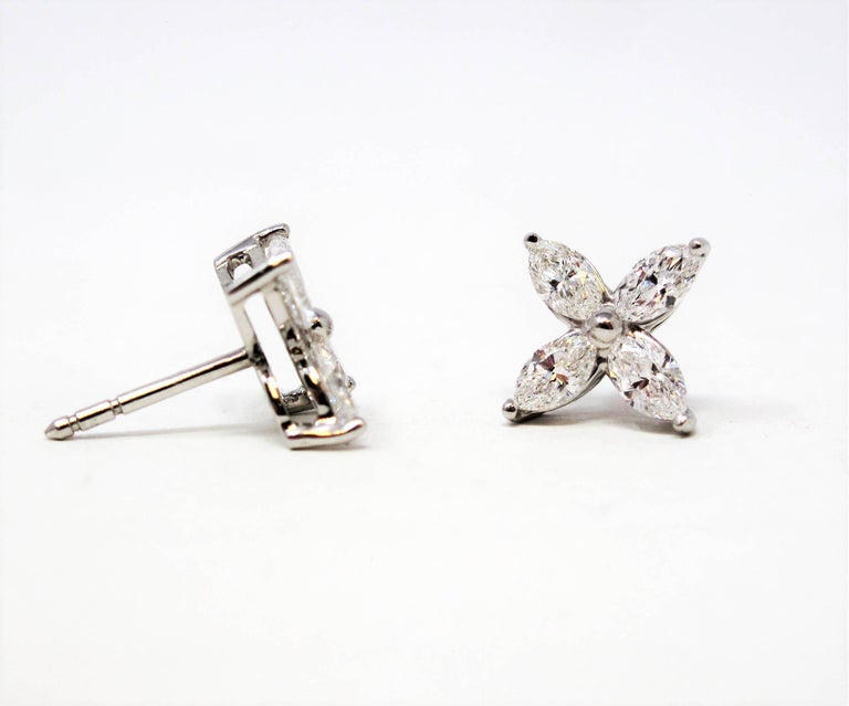 Contemporary Tiffany & Co. Large Victoria Diamond Earrings in Platinum 1.61 Carat Total For Sale