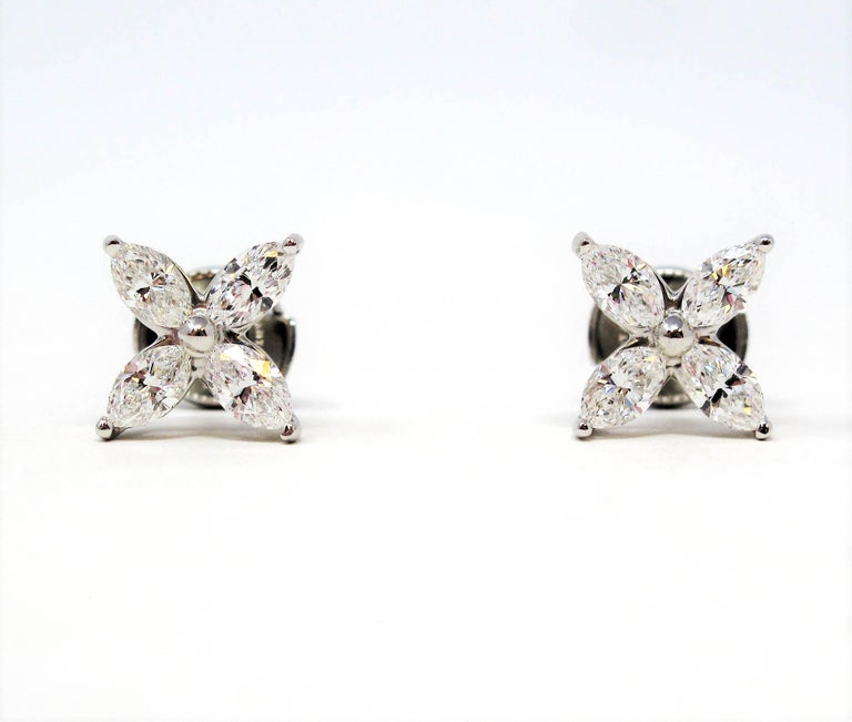 Women's or Men's Tiffany & Co. Large Victoria Diamond Earrings in Platinum 1.61 Carat Total For Sale