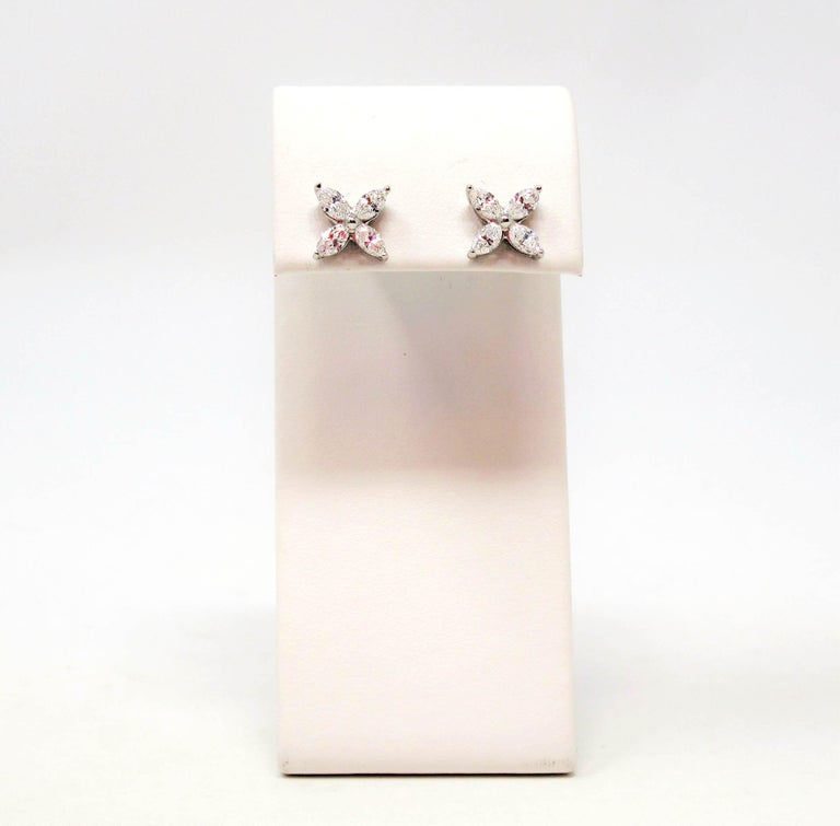 Tiffany & Co. Large Victoria Diamond Earrings in Platinum 1.61 Carat Total For Sale 2