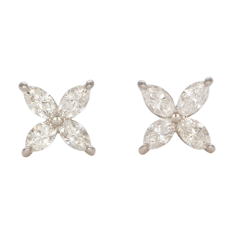 Tiffany & Co. Large Victoria Stud Earrings Platinum & Diamond