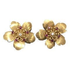 Tiffany & Co. Large Yellow Gold Ruby and Diamond Flower Earrings