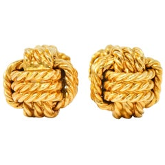 Tiffany & Co. Larter & Sons Midcentury 14 Karat Gold Men's Knot Cufflinks