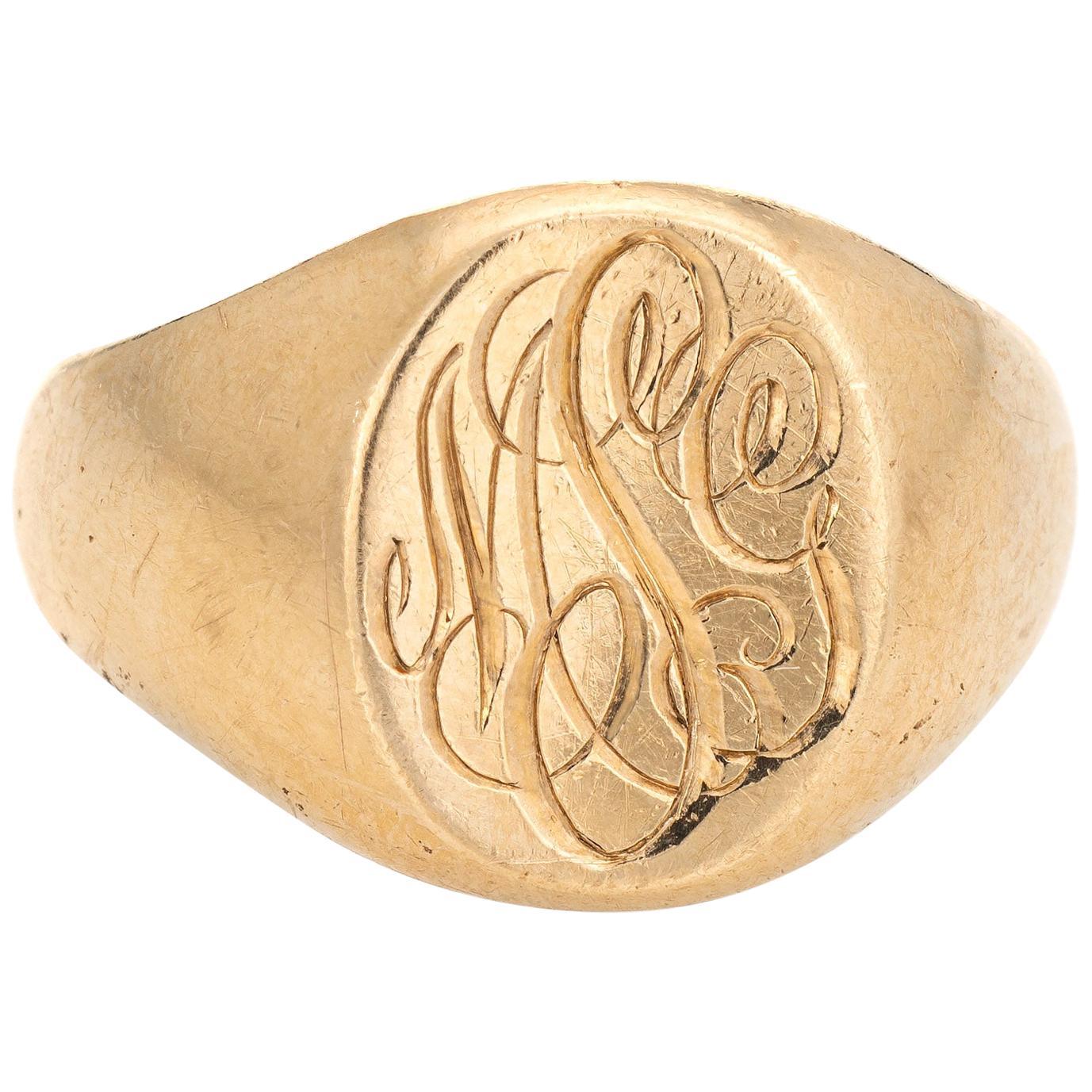 Tiffany & Co. Larter & Sons Signet Ring Vintage 14 Karat Yellow Gold Jewelry