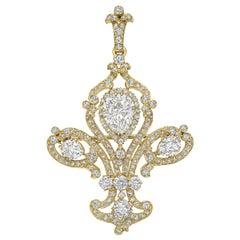 Tiffany & Co. Late 19th Century Diamond Fleur de Lis Pendant Brooch