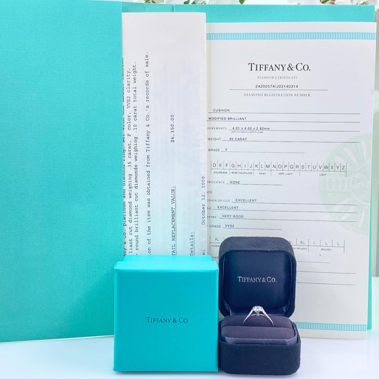 Cushion Cut Tiffany & Co. Legacy 0.45 Carat Cushion Diamond Platinum Engagement Ring For Sale