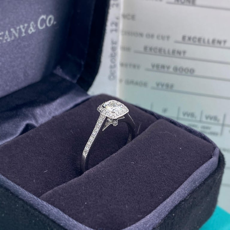 Women's or Men's Tiffany & Co. Legacy 0.45 Carat Cushion Diamond Platinum Engagement Ring For Sale