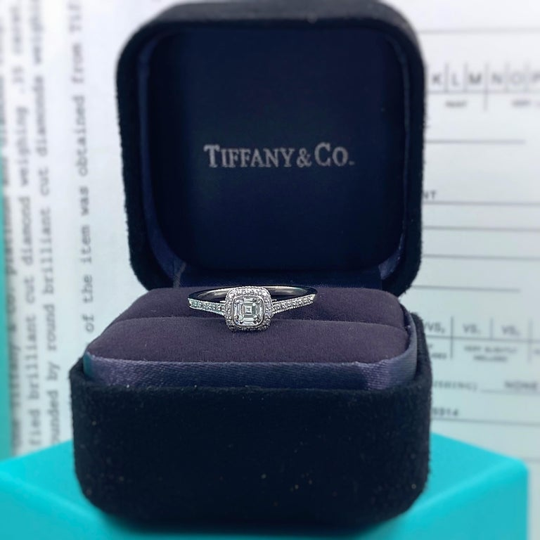 Tiffany & Co. Legacy 0.45 Carat Cushion Diamond Platinum Engagement Ring For Sale 1