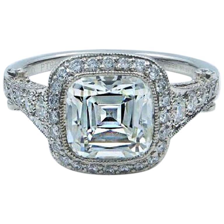 94d6c12b537 Tiffany   Co. Legacy 2.75 Carat Platinum Diamond Engagement Ring Cushion I  VVS1 For Sale