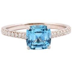 Tiffany & Co. Legacy Aquamarine and Diamond Ring in Platinum 1.17 Carat