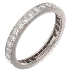 Tiffany & Co. Legacy Bead Set Diamond Platinum Eternity Wedding Band Ring
