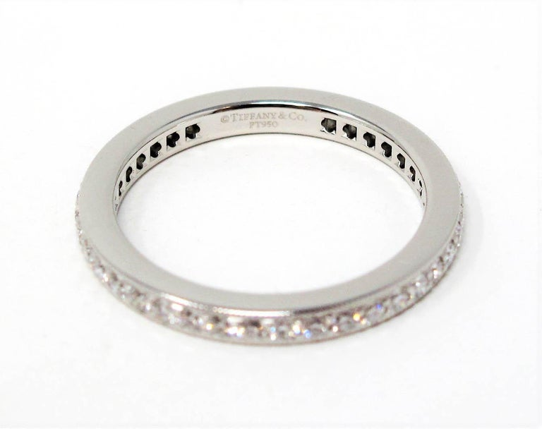 Round Cut Tiffany & Co. Legacy Collection Diamond Eternity Band Ring in Platinum For Sale