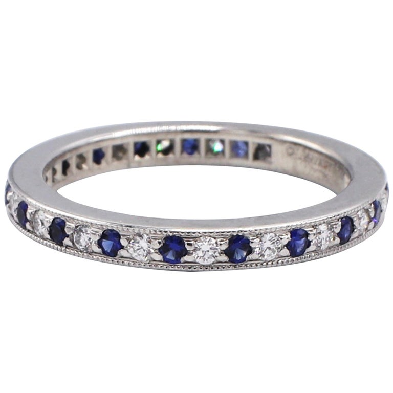 Tiffany & Co. Legacy Collection Platinum Diamond and Sapphire Band Ring For Sale
