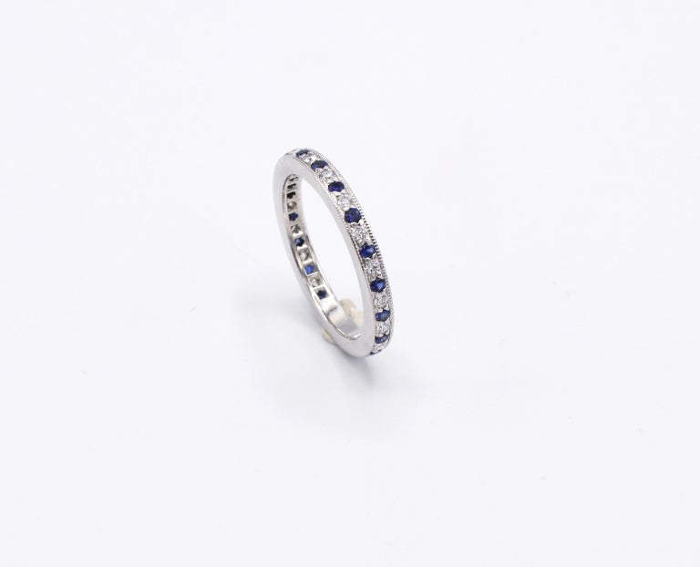 Tiffany & Co. Legacy Collection Platinum Diamond & Sapphire Band Ring Size 5.5   Metal: Platinum Weight: 3.95 grams Diamonds: Approx. .20 CTW G VS Width: 2mm  Size: 5.5 (US)  Box included as shown   Retail: $3,300