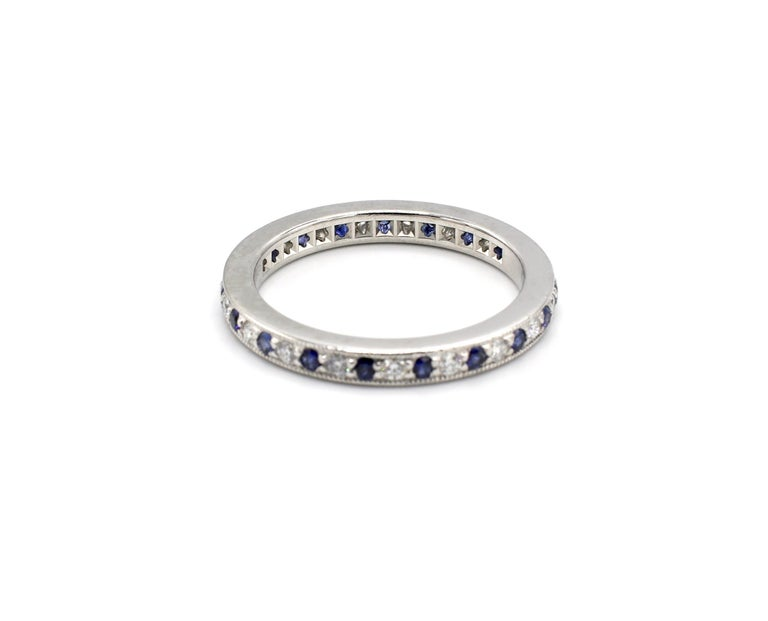 Modern Tiffany & Co. Legacy Collection Platinum Diamond and Sapphire Band Ring For Sale