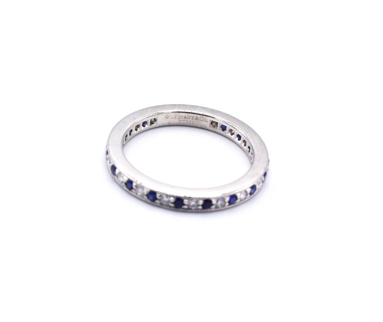 Round Cut Tiffany & Co. Legacy Collection Platinum Diamond and Sapphire Band Ring For Sale