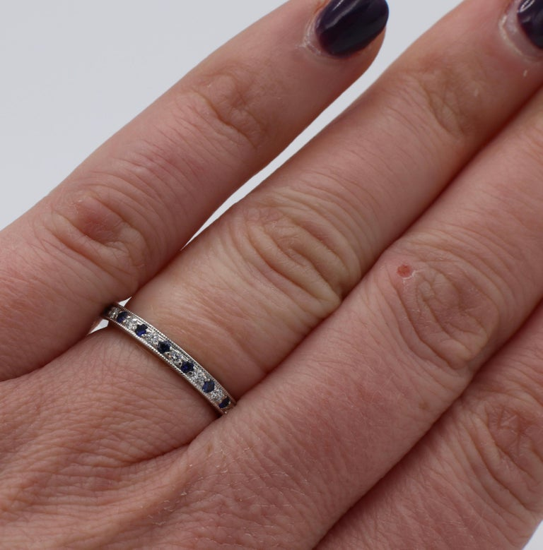Tiffany & Co. Legacy Collection Platinum Diamond and Sapphire Band Ring In Good Condition For Sale In  Baltimore, MD