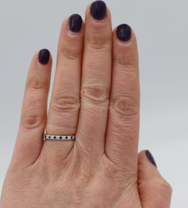 Women's Tiffany & Co. Legacy Collection Platinum Diamond and Sapphire Band Ring For Sale