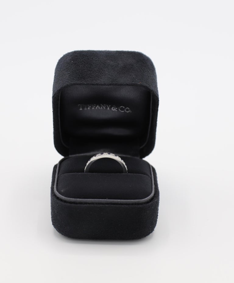 Tiffany & Co. Legacy Collection Platinum Diamond and Sapphire Band Ring For Sale 1