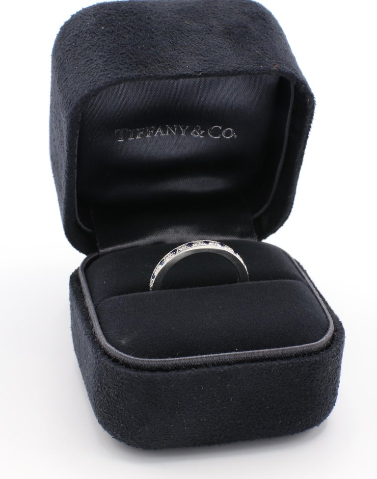 Tiffany & Co. Legacy Collection Platinum Diamond and Sapphire Band Ring For Sale 2