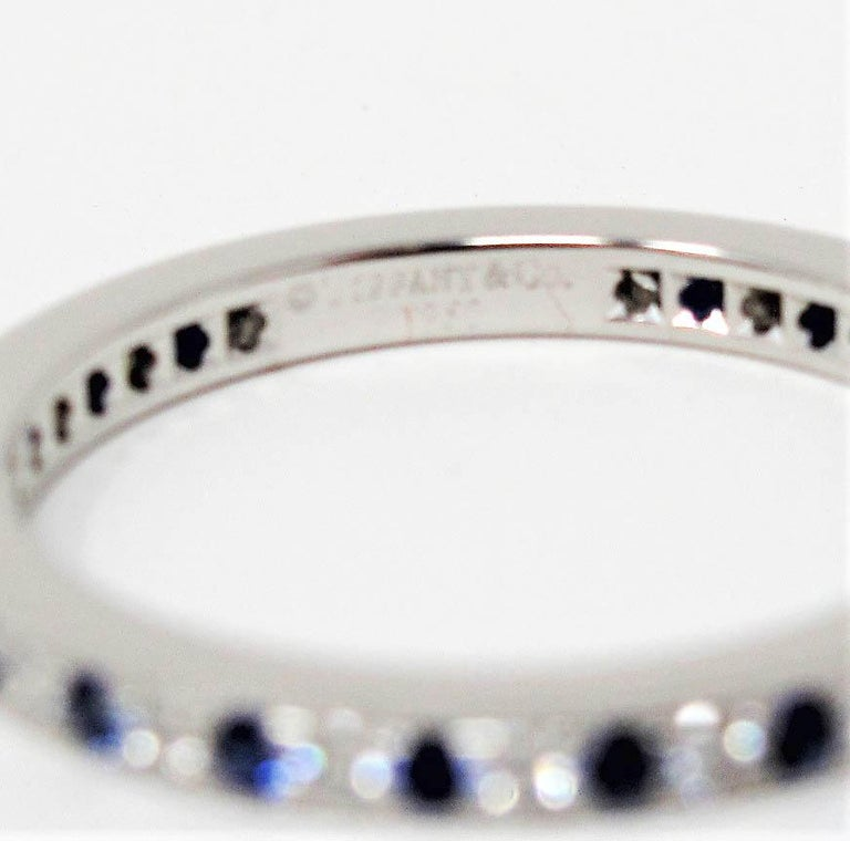 Tiffany & Co. Legacy Collection Sapphire/ Diamond Eternity Band Ring in Platinum For Sale 5