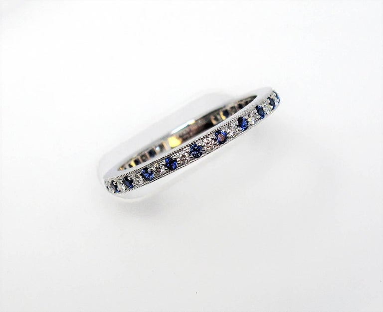 Round Cut Tiffany & Co. Legacy Collection Sapphire/ Diamond Eternity Band Ring in Platinum For Sale