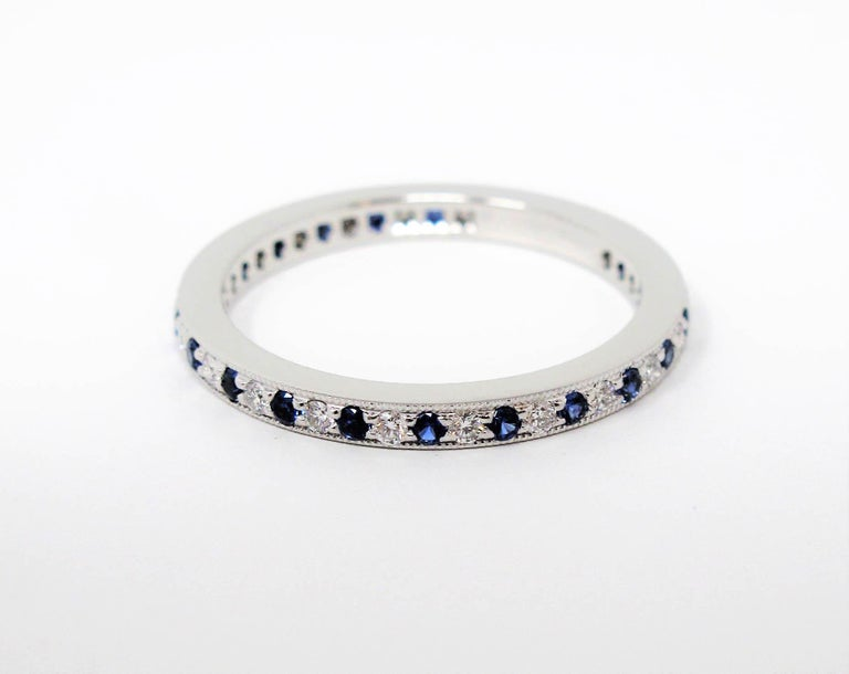 Tiffany & Co. Legacy Collection Sapphire/ Diamond Eternity Band Ring in Platinum For Sale 2