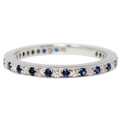 Tiffany & Co. Legacy Collection Sapphire/ Diamond Eternity Band Ring in Platinum